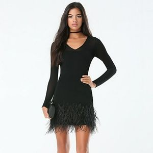 NEW W/TAGS!Bebe black feather trim sweater dress